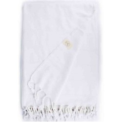 Troy XL Stonewashed Throw Blanket Turkish Towel - 60X82 Inches, White