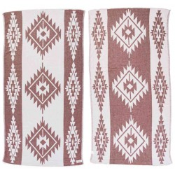 Tulum Dual-Layer Turkish Towel - 37X70 Inches, Burgundy