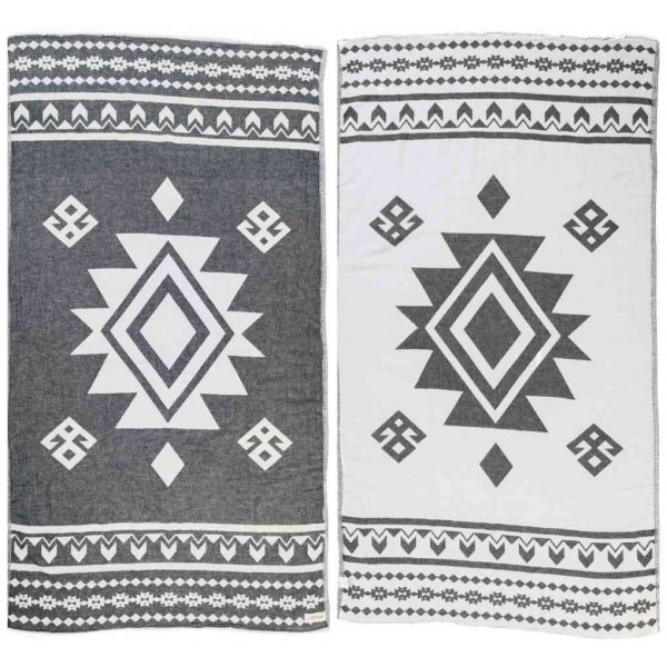Uxmal Dual-Layer Turkish Towel - 37X70 Inches, Black