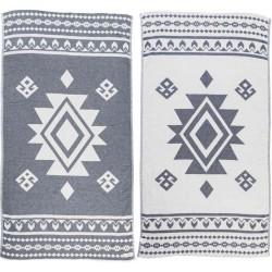 Uxmal Dual-Layer Turkish Towel - 37X70 Inches, Dark Blue