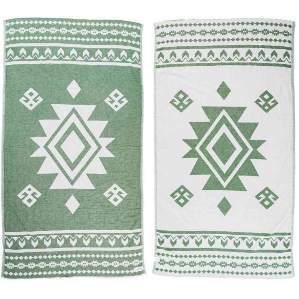 Uxmal Dual-Layer Turkish Towel - 37X70 Inches, Forest Green