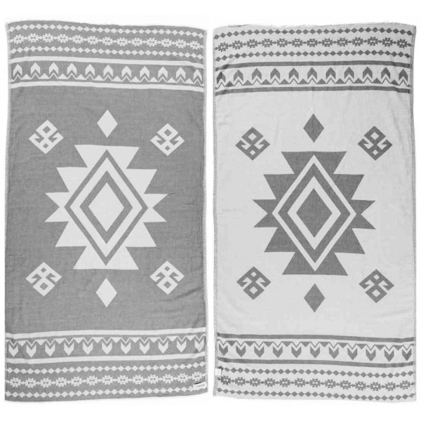 Uxmal Dual-Layer Turkish Towel - 37X70 Inches, Silver Gray