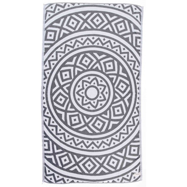 Venice Dual-Layer Turkish Towel - 39X71 Inches, Silver Grey