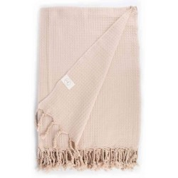 Waffle XL Throw Blanket Turkish Towel - 60X82 Inches, Beige