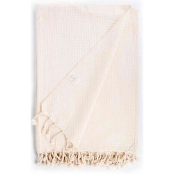 Waffle XL Throw Blanket Turkish Towel - 60X82 Inches, Natural
