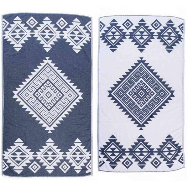 Yucatan Dual-Layer Turkish Towel - 39X71 Inches, Dark Blue